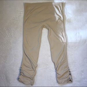 Tan leggings 3/4 length with crystal button detail